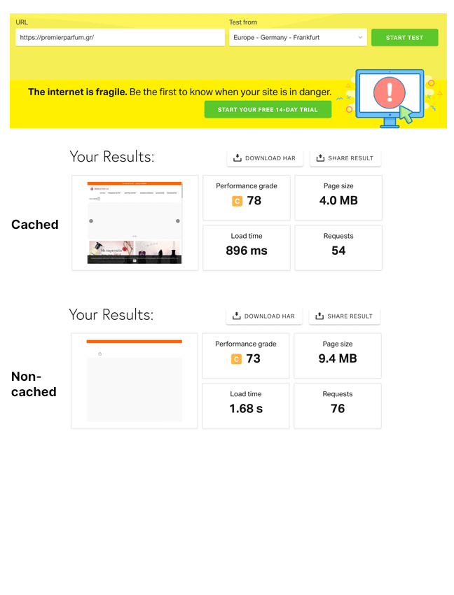 Final comparison between old hosting provider and WooCart on Pingdom: After