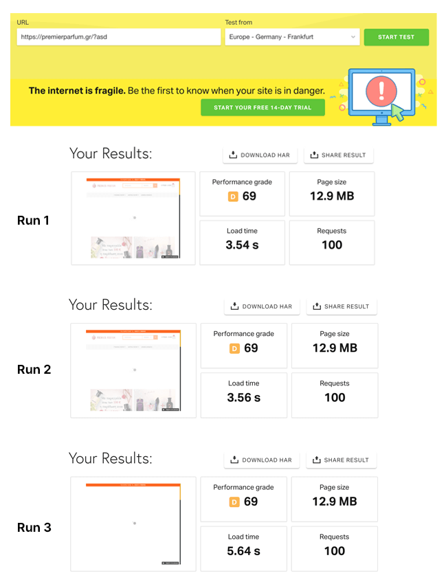 Final comparison between old hosting provider and WooCart on Pingdom: Before